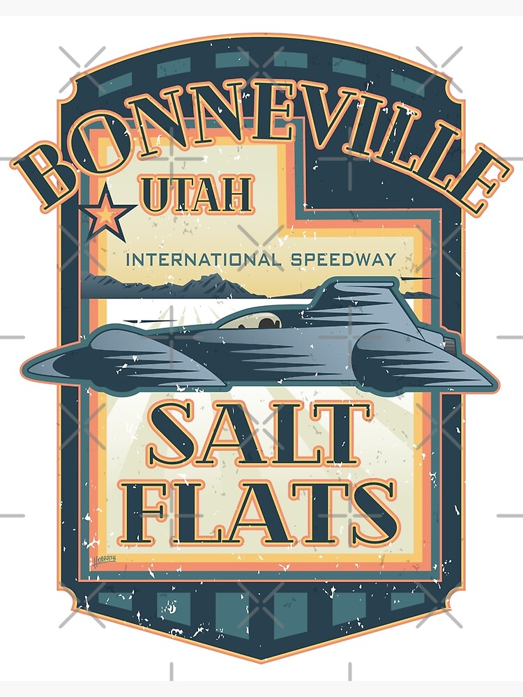 Bonneville Salt Flats International Speedway Vintage Retro Style Illustration by hobrath