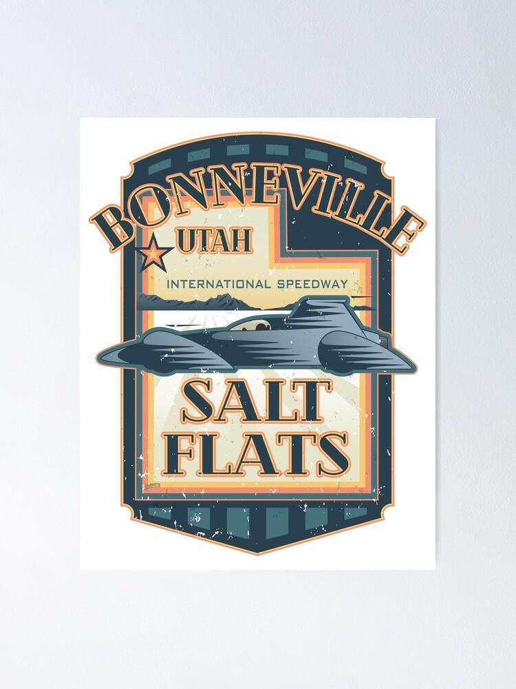 Alternate view of Bonneville Salt Flats International Speedway Vintage Retro Style Illustration Poster