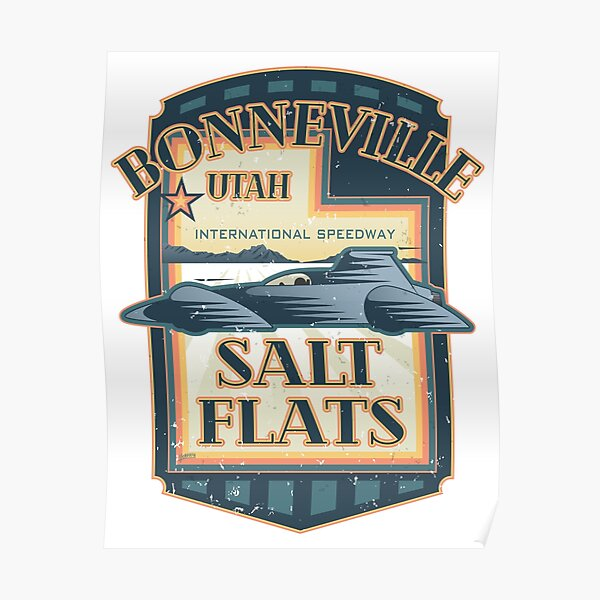 Bonneville Salt Flats International Speedway Vintage Retro Style Illustration Poster