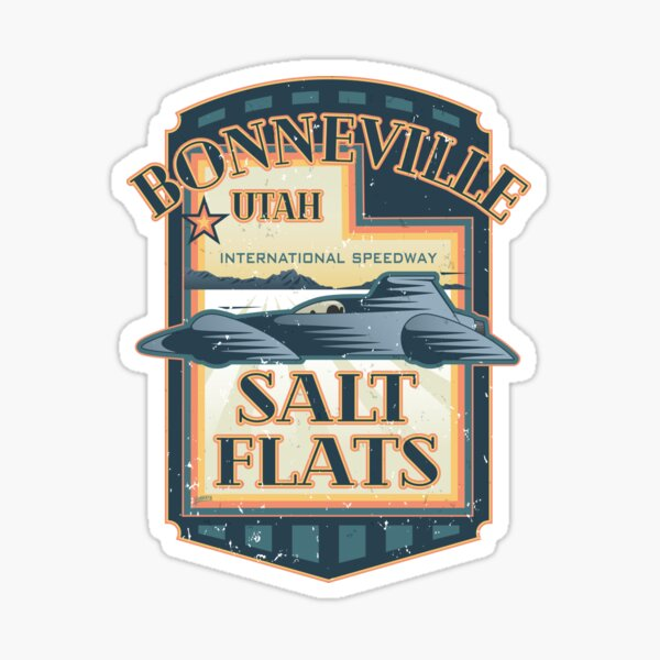 Bonneville Salt Flats International Speedway Vintage Retro Style Illustration Sticker
