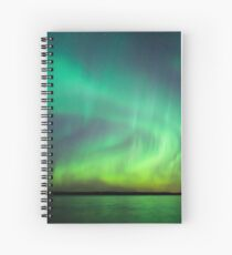Northern lights over lake in Finland Spiral Notebook