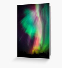 Beautiful multicolored northern lights in Finland Greeting Card