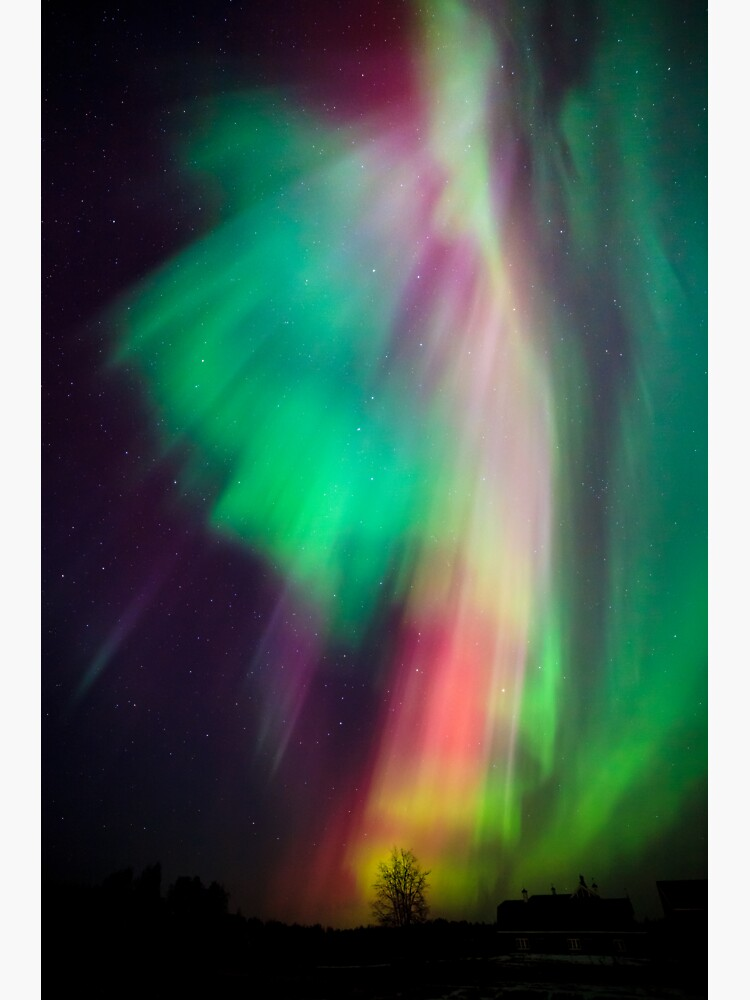 Beautiful multicolored northern lights in Finland by Juhku