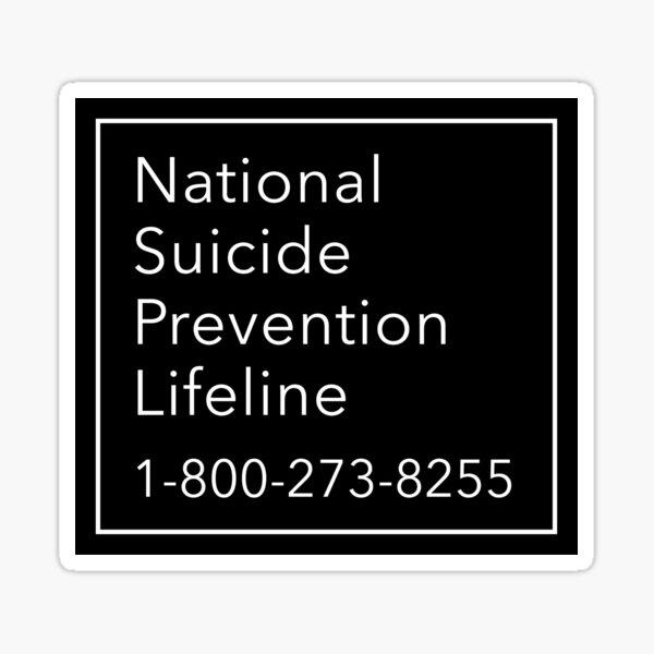 National Suicide Prevention Lifeline Phone Number Sticker