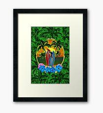 Tropical Sunset Palm Trees Framed Print