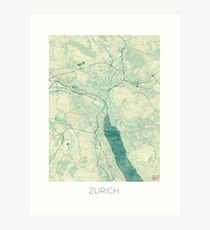 Zurich Map Blue Vintage Art Print