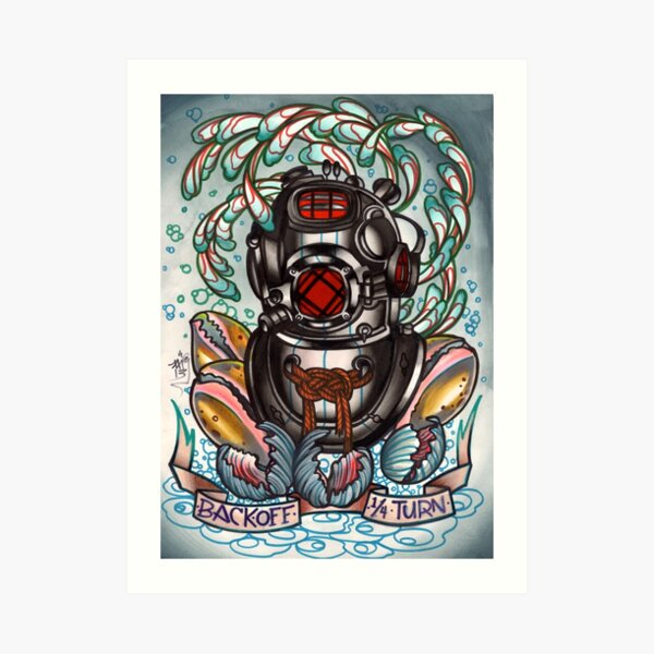 diver's helmet, deep sea diving old school tattoo art Art Print