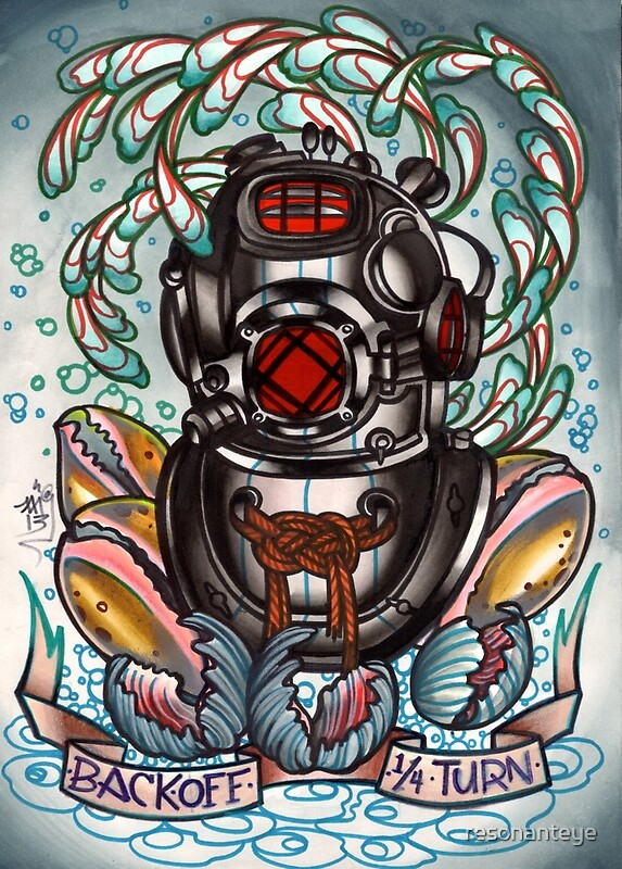 Quot Diver S Helmet Deep Sea Diving Old School Tattoo Art Quot By