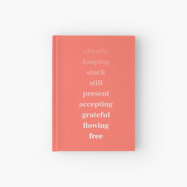 chaotic to free - white on coral Hardcover Journal
