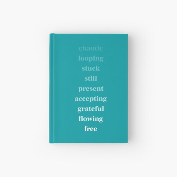 chaotic to free - white on teal Hardcover Journal
