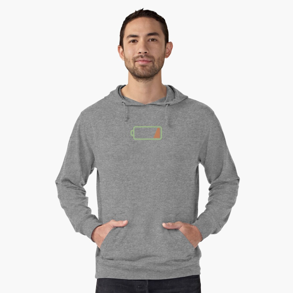 Low Battery Lightweight Hoodie Front