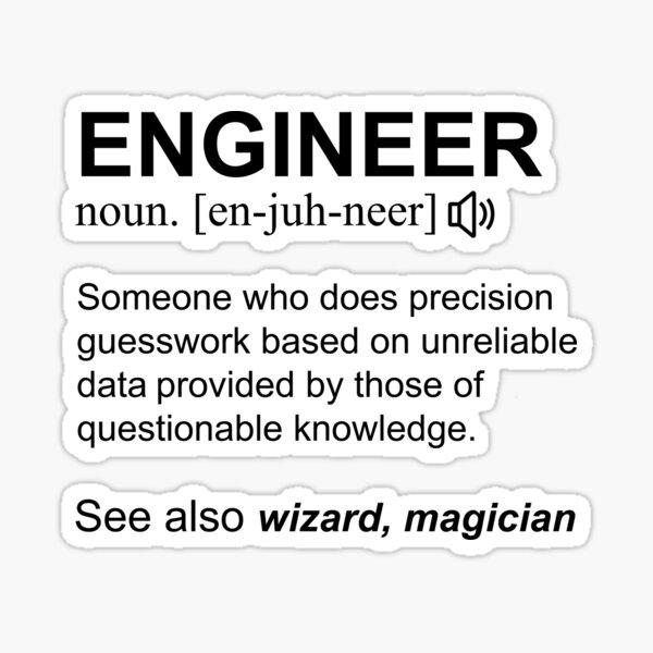 Engineer Definition Black Text Gift Design Design Sticker