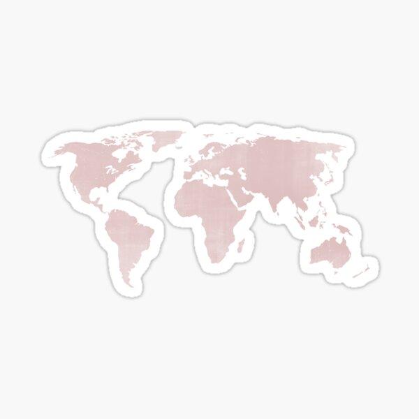 Carte du monde en Quartz rose en détresse Sticker