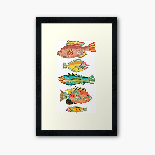 Surreal Silly Fish Friends Framed Art Print