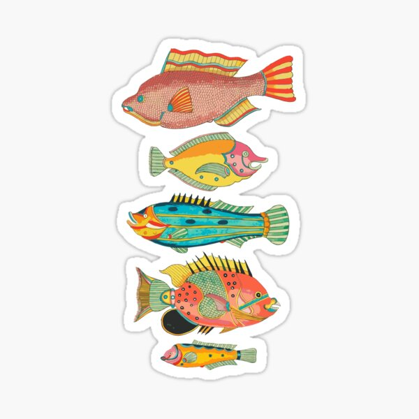 Surreal Silly Fish Friends Sticker