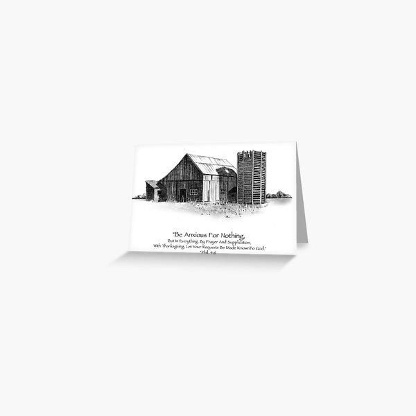 Bible Verse: Philippians, Do Not Be Anxious, Pencil Art: Barn Greeting Card