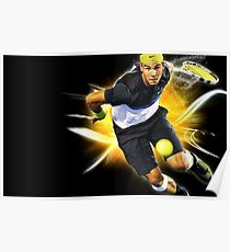 Rafael Nadal in action Poster