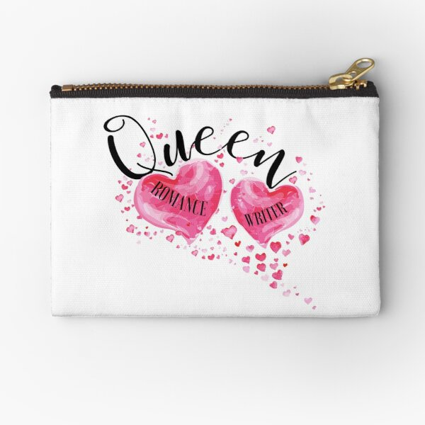 The QUEEN OF HEARTS is a ROMANCE WRITER! (white) Zipper Pouch