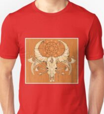 image of a skull with axes and spears tattoo style in color   T-Shirt