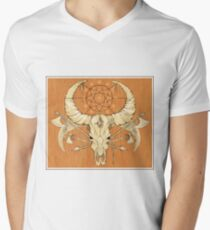 image of a skull with axes and spears tattoo style in color   Mens V-Neck T-Shirt