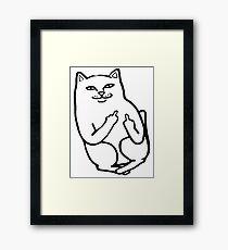 Middle Finger Cat Framed Print