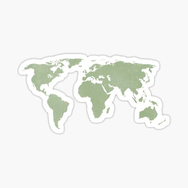 Carte du monde vert sauge en détresse Sticker