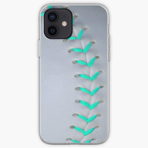 Light Blue Stiches Softball / Baseball iPhone Soft Case