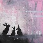 Pink Sky Bunnies by Katie Robinson