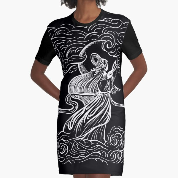 Moon Goddess and Bunny Rabbit Graphic T-Shirt Dress