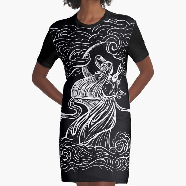 Moon Goddess and Bunny Rabbit Graphic T-Shirt Dress