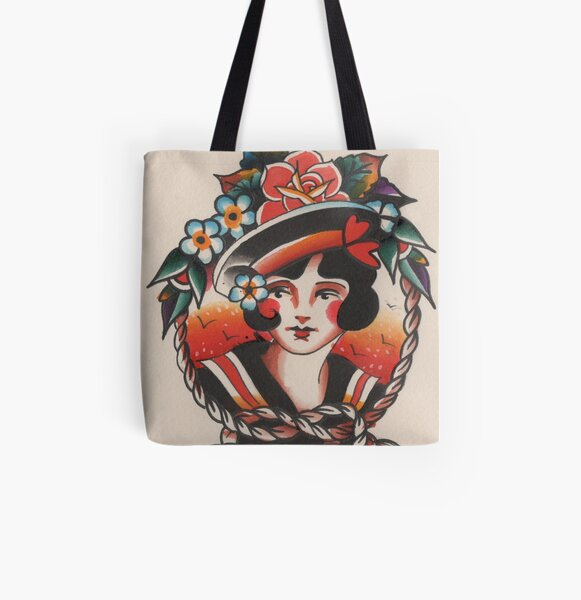 Traditional Lady Head All Over Print Tote Bag