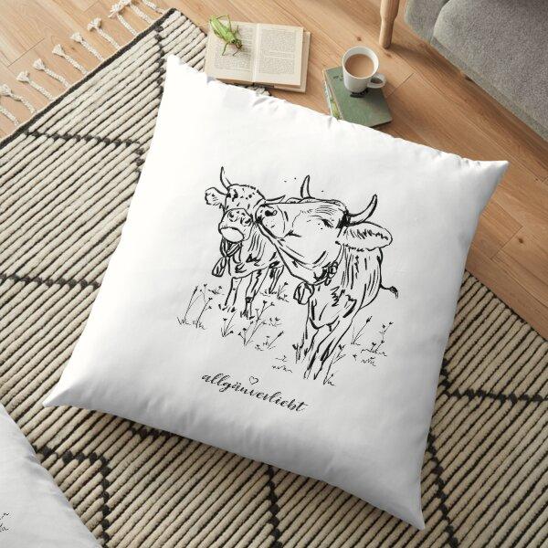 allgäuverliebt - Zwei Allgäuer Kühe - Skizze, schwarz/weiß Bodenkissen
