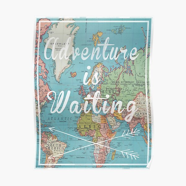 Adventure is Waiting World Map Poster
