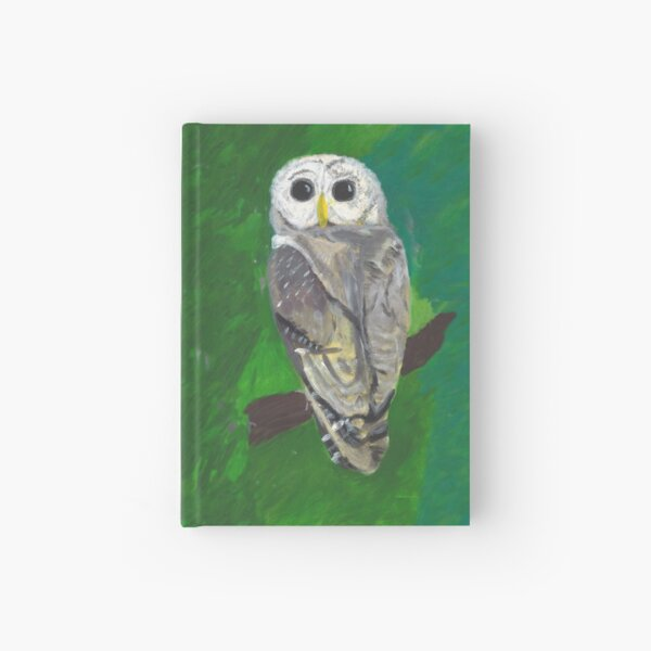 Owl Reproduction Painting on Green Background Hardcover Journal