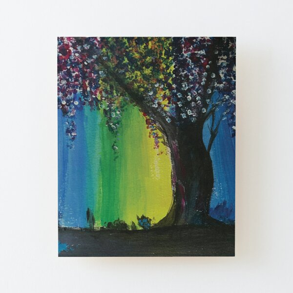 Lone Willow Tree with Blue, Green and Yellow Lighting Acrylic Reproduction Painting Wood Mounted Print