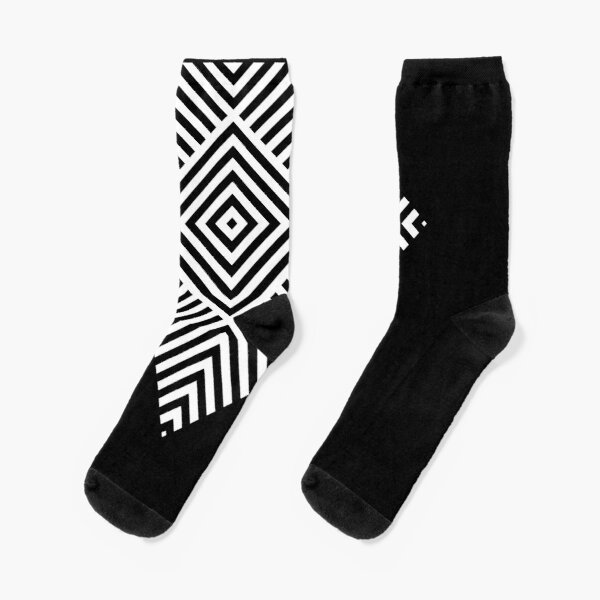 Asymmetrical Striped Square Rhombus Socks