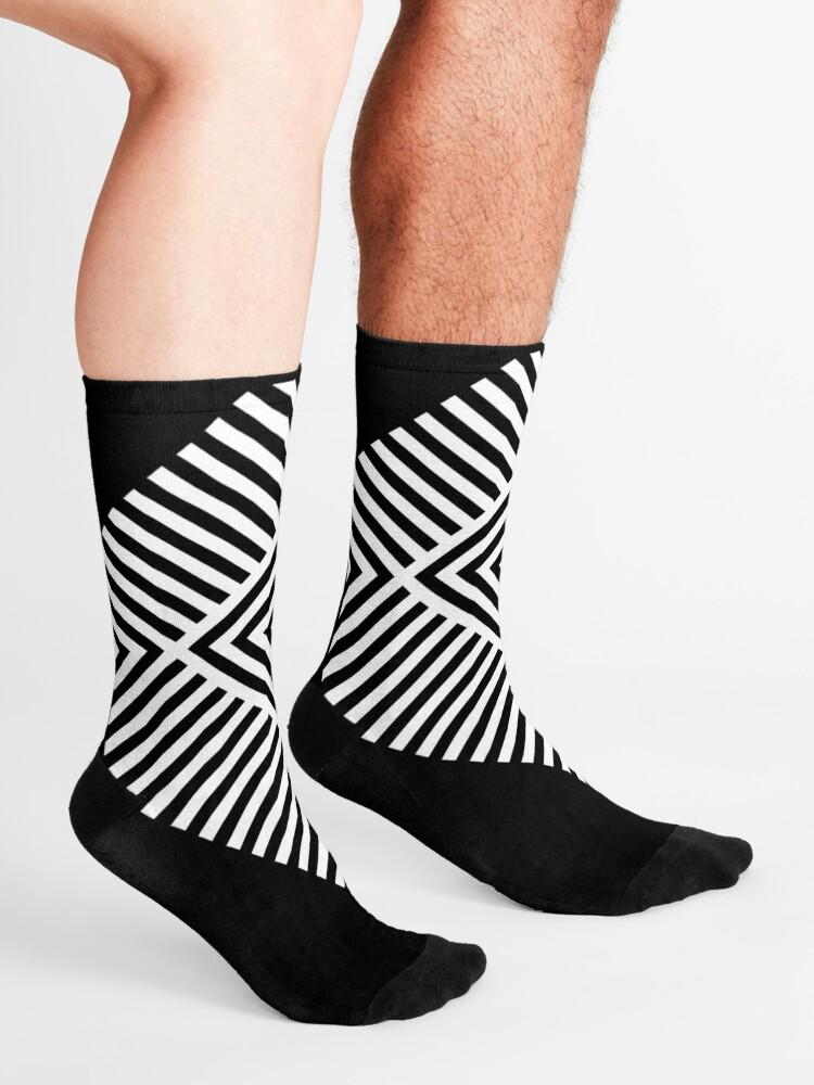 Alternate view of Asymmetrical Striped Square Rhombus Socks