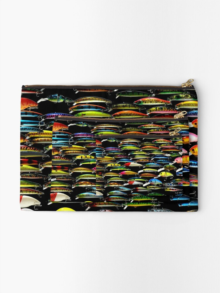 Alternate view of Fishing Lures Pattern Art Photo Zipper Pouch