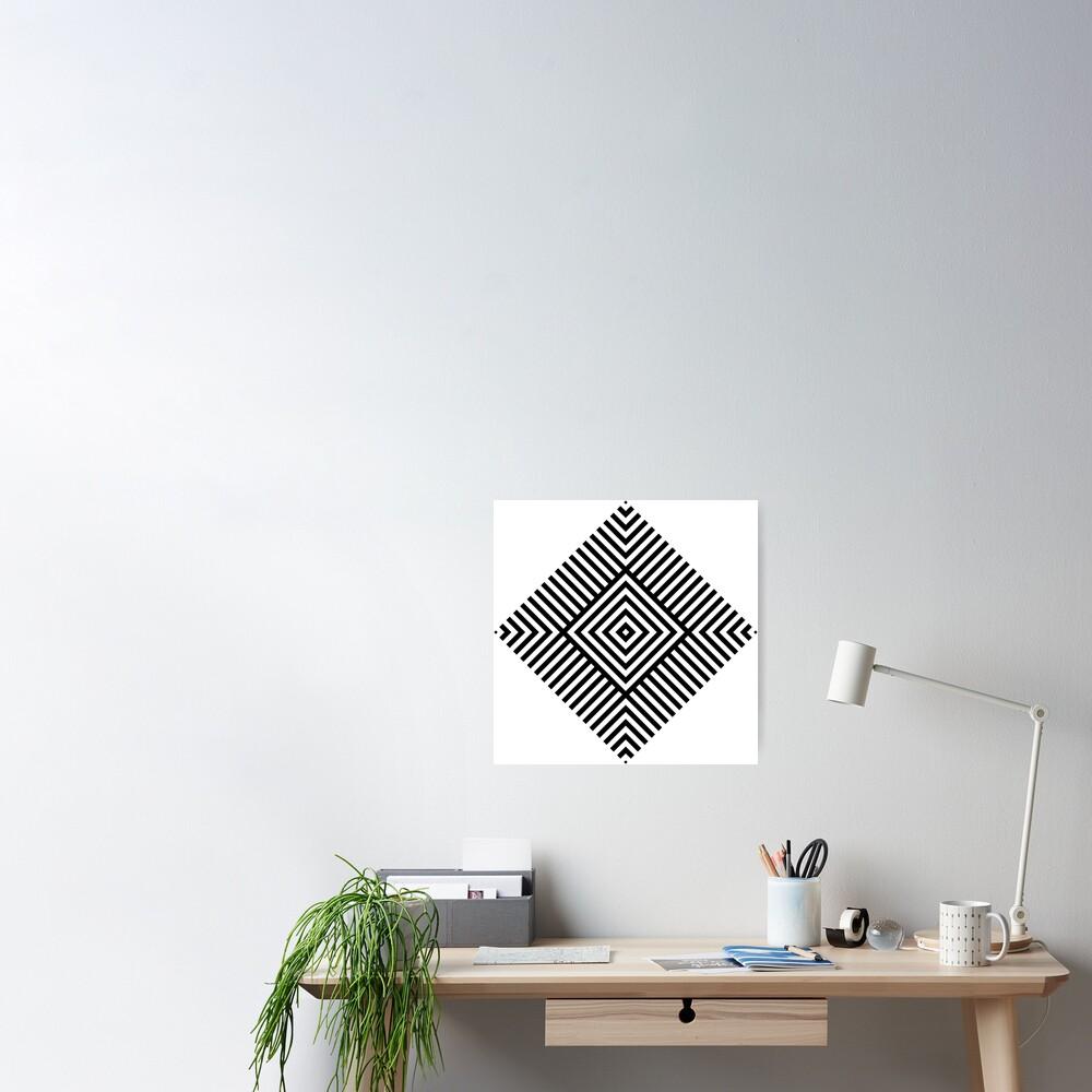 Symmetrical Striped Square Rhombus Poster