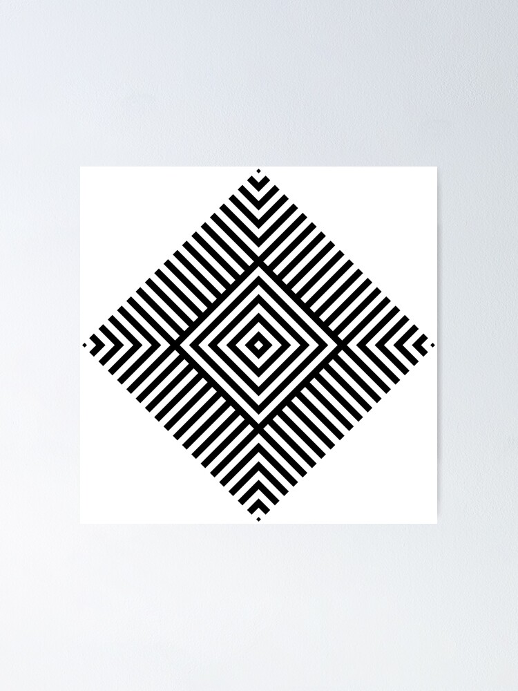 Alternate view of Symmetrical Striped Square Rhombus Poster