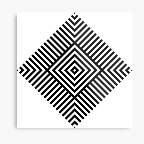 Symmetrical Striped Square Rhombus Metal Print