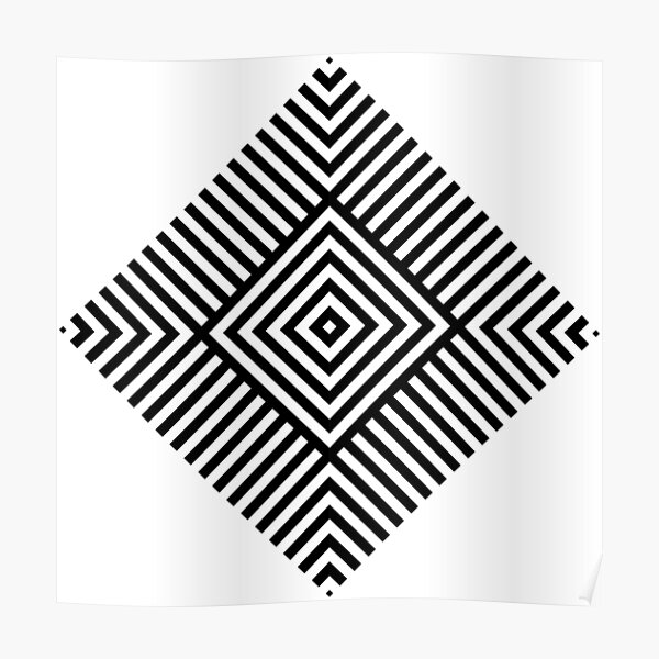 Symmetrical Striped Square Rhombus Poster