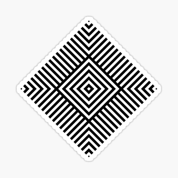 Symmetrical Striped Square Rhombus Sticker