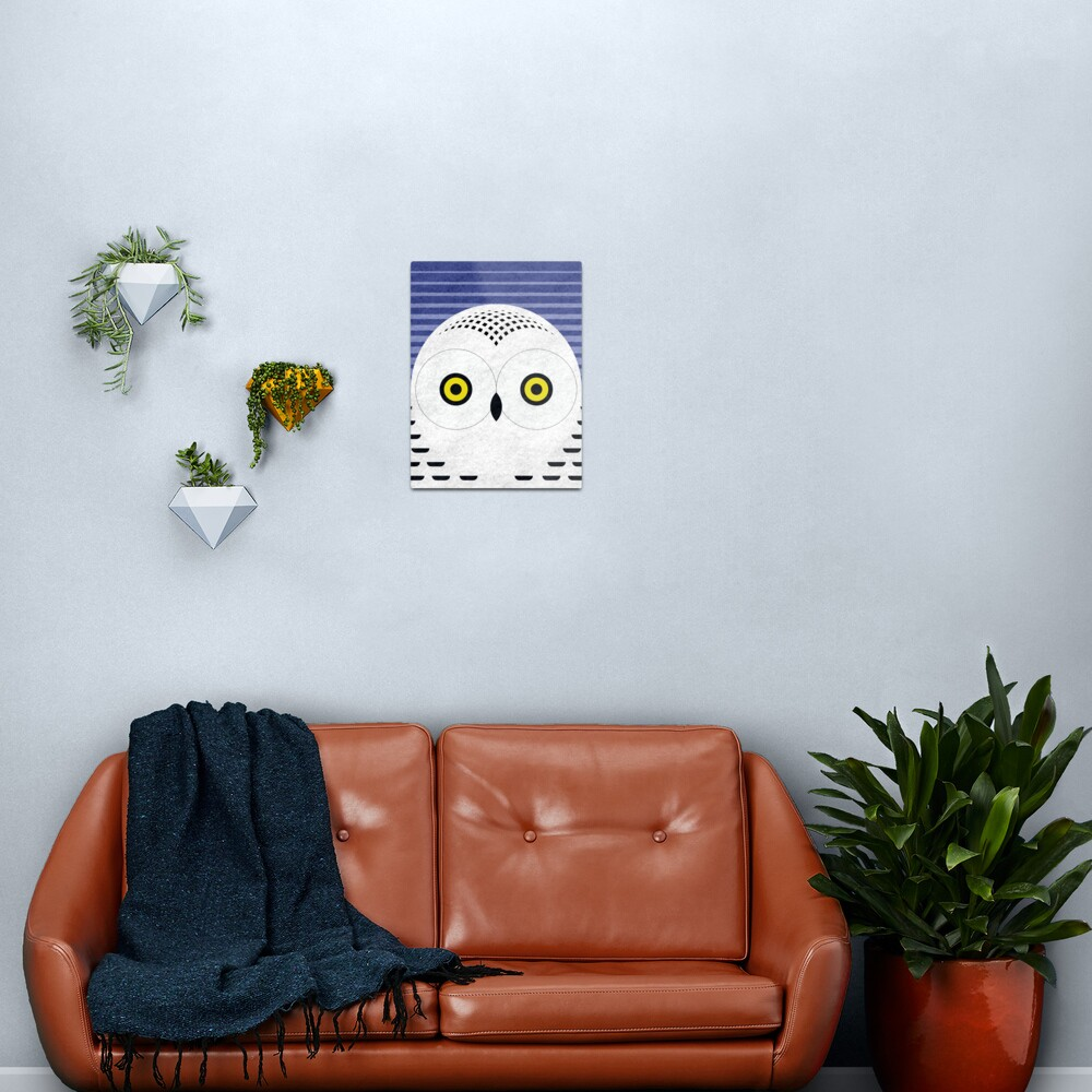 Snowy Owl Head Metal Print