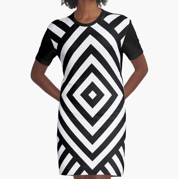Symmetrical Striped Square Rhombus Graphic T-Shirt Dress