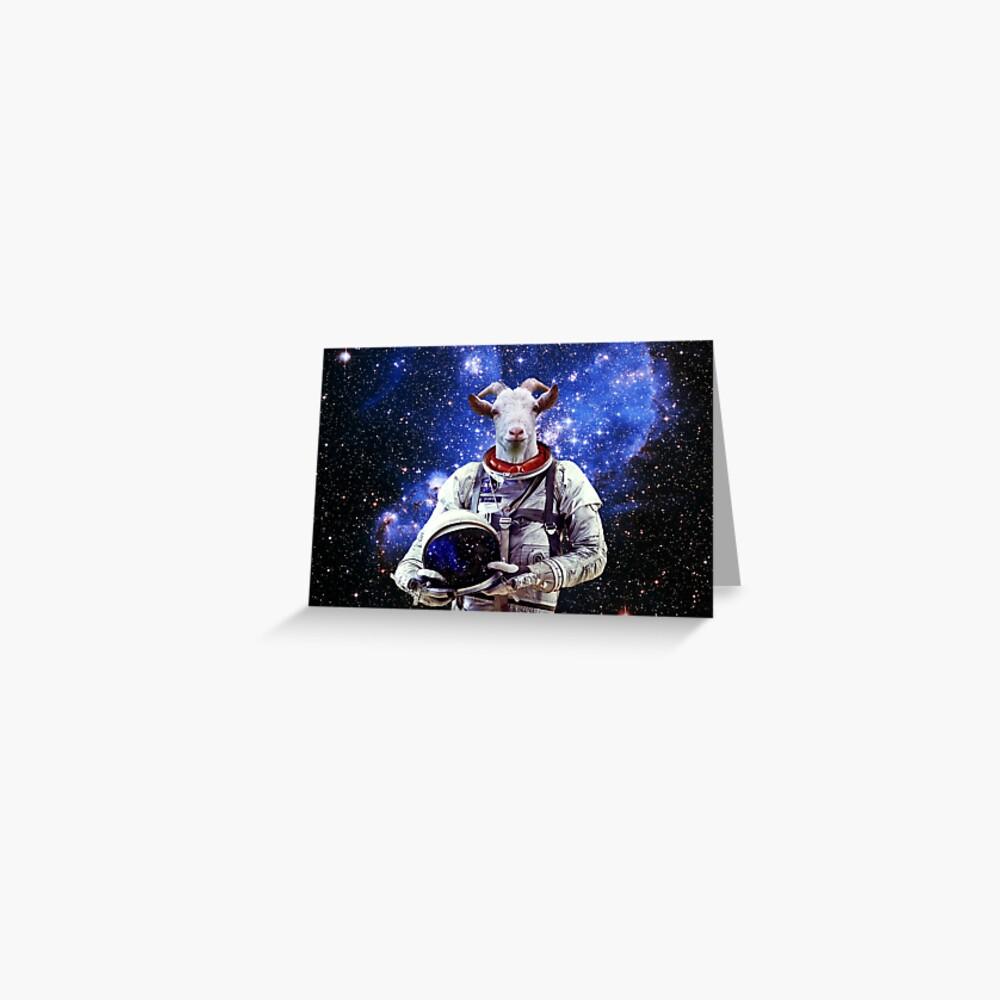 Ziege Astronaut im Weltraum Grußkarte