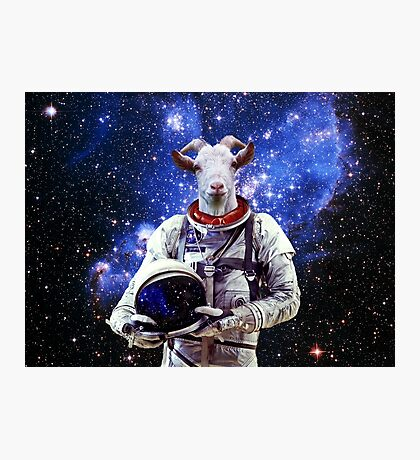 Goat Astronaut In Space Photographic Print