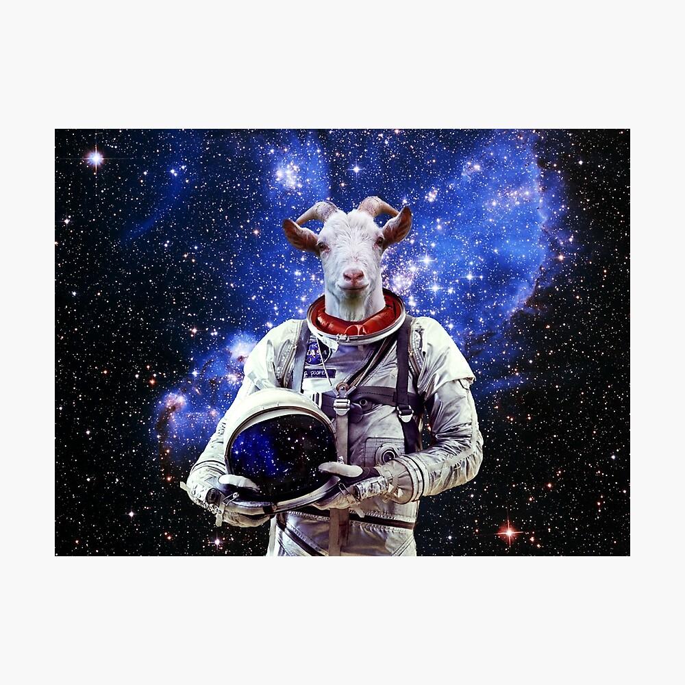 Ziege Astronaut im Weltraum Fotodruck