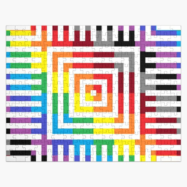 Colored Symmetrical Striped Squares Jigsaw Puzzle