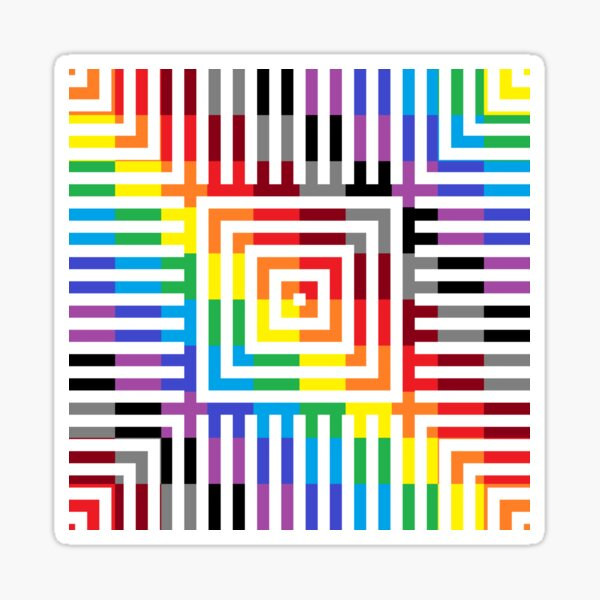 Colored Symmetrical Striped Squares Sticker